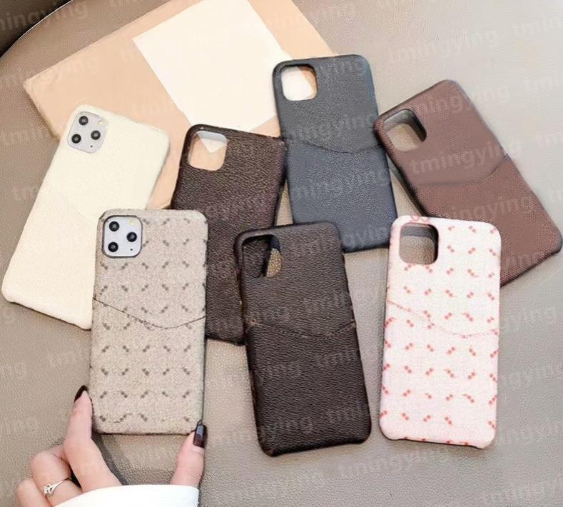 Top Pelle Designer Designer Custodie per iPhone 12 Pro Max Mini 11 XS XR x 8 7 Plus Box Holder Pocket Pocket Pocket Cover Indietro Caso di protezione del guscio mobile di lusso