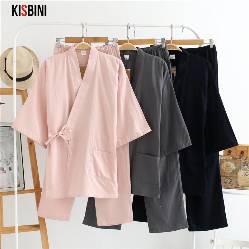 Kisbini осень осень пижамы наборы для женщин женская твердая домашняя одежда костюм хлопок длинный японский стиль дамы домашняя одежда весной пижама 210326