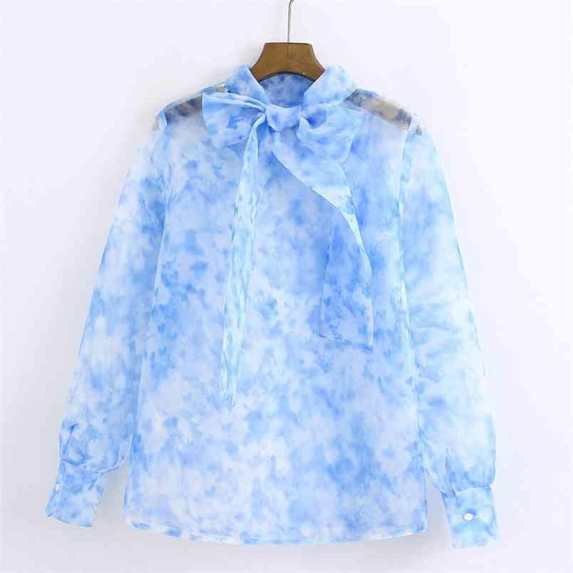 TRASPARENTE Voile Stampato Bow Tioves Camicette Donne Moda Stampa Top Eleganti Signore Manica lunga Shirts 210531