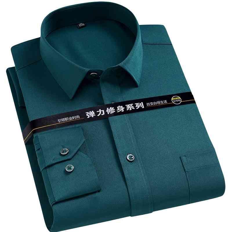 Мужская сплошная сплошная рубашка сплошной рубашки против морщин с длинным рукавом простые повседневные рубашки Мужчины регулярные подходят не железным легким уход за работой одежды MAN 210322