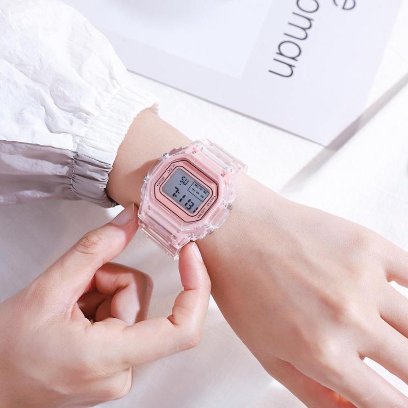 Montres électroniques pour femmes Rose Gold Silicone Strap Robe transparente LED Numérique Montre-bracelet Sport Horloge Relogio Feminino Montres-bracelets