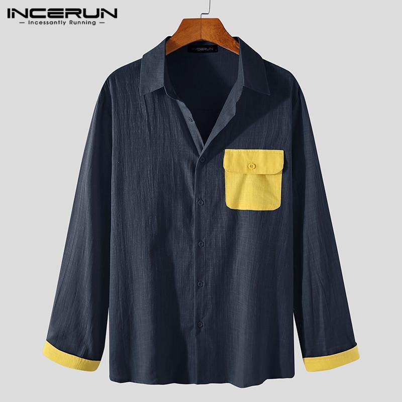 남성 셔츠 패치 워크 코튼 칼라 버튼 스트리트웨어 캐주얼 탑 HARAJUKU 통기성 긴 소매 레저 캐미 사 남자 셔츠
