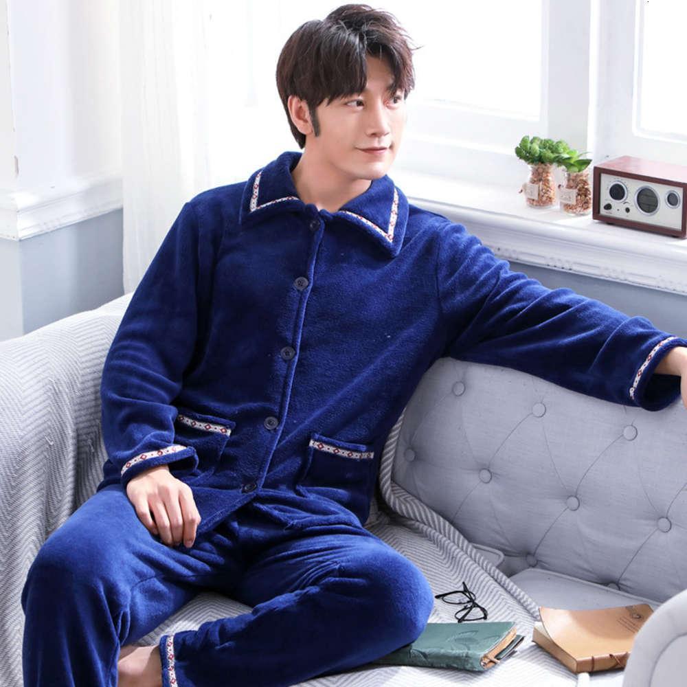 Flanela masculina Outono e inverno pijama manga longa espessou Cashmere Cardigan Home Suit