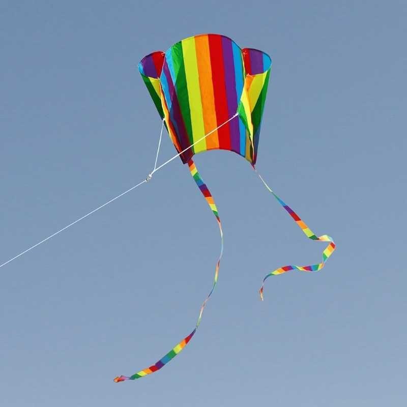 ملون rainbow طائرة ورقية طويل الذيل نايلون الطائرات الورقية الطائرات الطائرات لعب للأطفال أطفال كايت تصفح مع 30 متر خط طائرة ورقية عالية الجودة Y0616