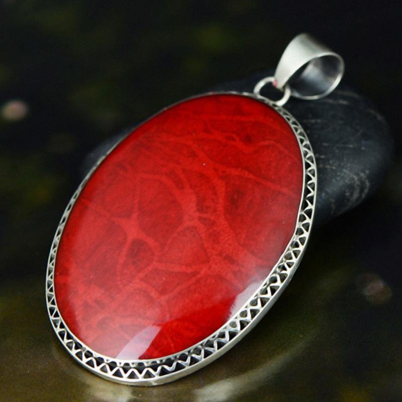 Подлинная 925 Стерлинговая серебристая подвеска для женщин с красными корпусными драгоценными камнями Античная Большая ожерелье Pierre Naturelle Mockets