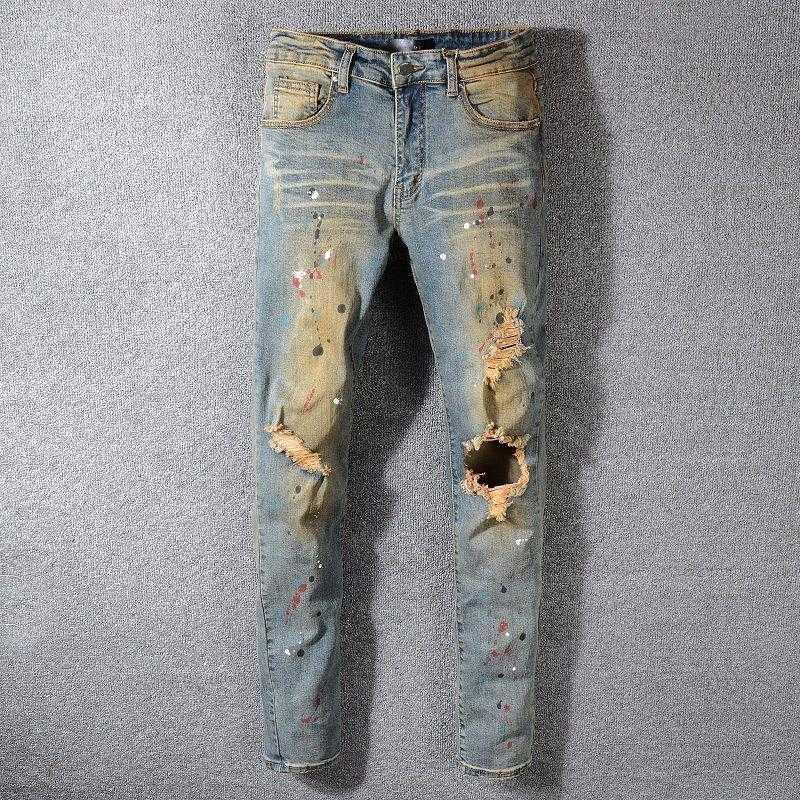 Homens jeans homens retro motociclista Punk 2021 buraco rasgado designer azul streetwear para calças de motocicleta