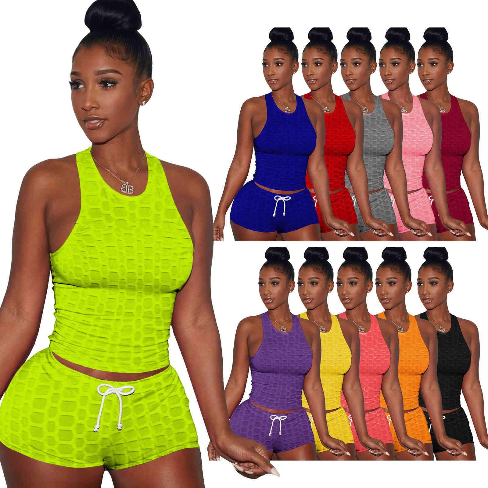 Plus Taille XS-3XL 2021 Summer Femmes Sexy Court Ensemble Tenue Two Pieces Tracksuits Jogger Costumes Top Débardeur + Swews Color SweatSuit