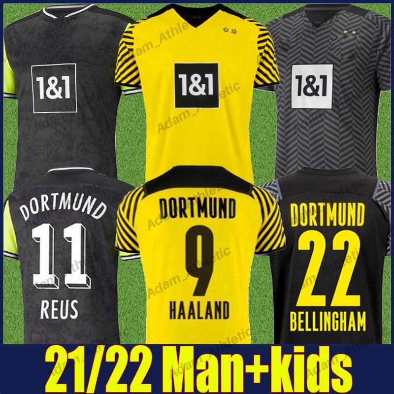 Dortmund Haaland Soccer Jerseys عرض لاعب Reus Reyna Bellingham Shirts Hummels Brandt Hazard جيرسي الرجعية 90s مستوحاة قميص الرجال الاطفال كيت 2021/22 أعلى