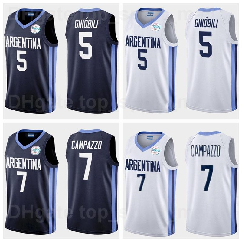 2021 Tokyo Olimpiadi Argentina Maglia da basket 7 Facundo Campazzo 5 Manu Ginobili 4 Luis Scola 29 Patricio Garino 14 Gabriel Deck 12 Marcos Delia Man Donna Gioventù