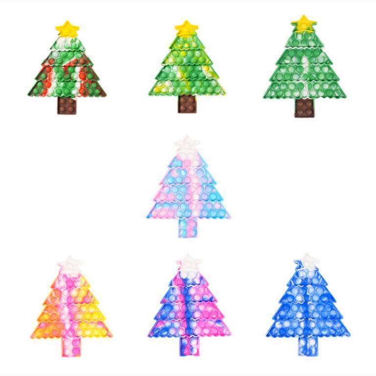 ألعاب الضغط عيد الميلاد دفع تململ ملون شكل شجرة ميزة فقاعة الإصبع الحسية لعبة للأطفال الهدايا