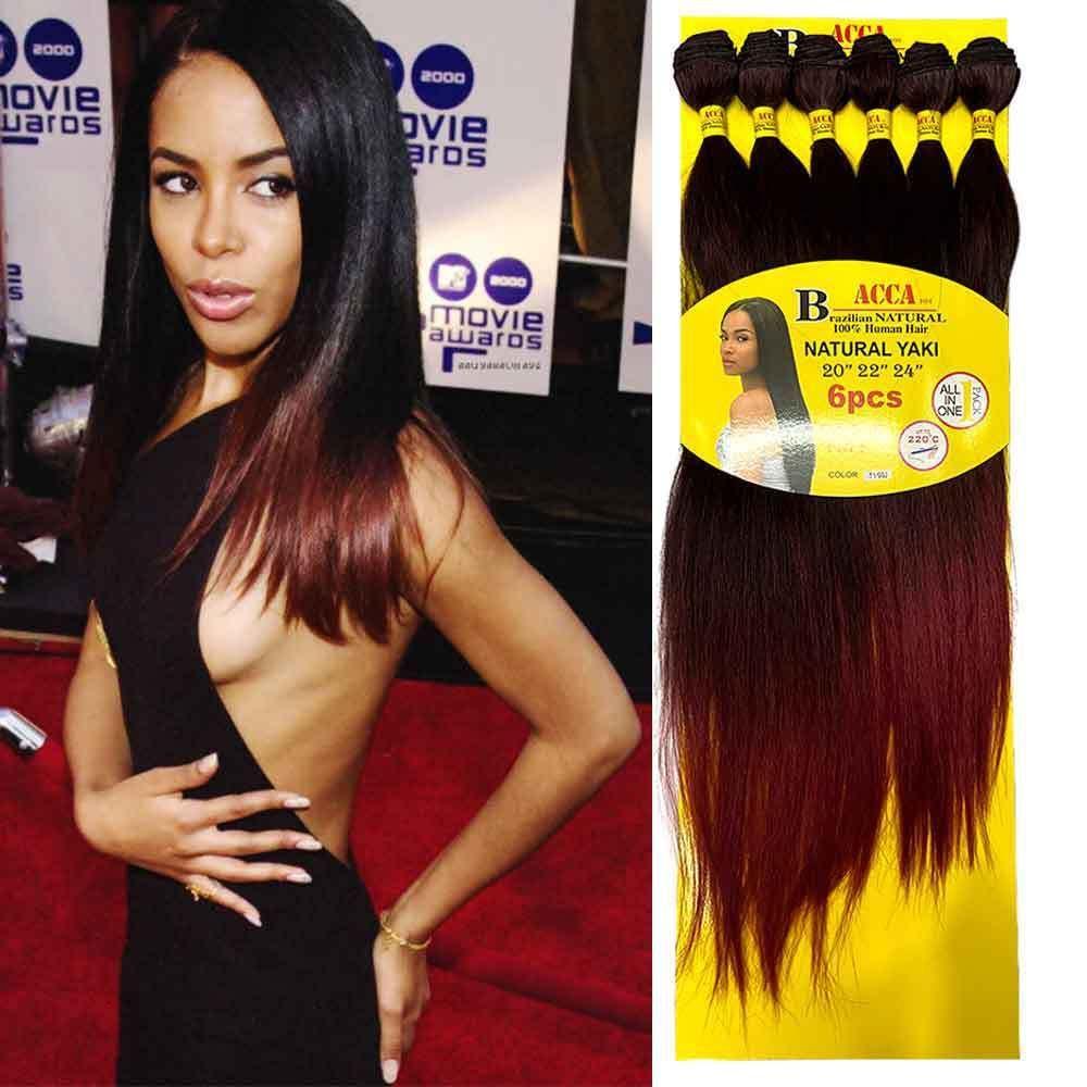 Pacotes de cabelo em linha reta de Wig Acca Yaki 6pc