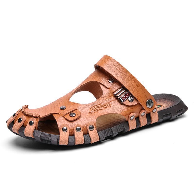 Sandales Été 2021 Hommes Respirant Cuir Plage Flip Flop Marque Casual Chaussures Casual Slip-On Format