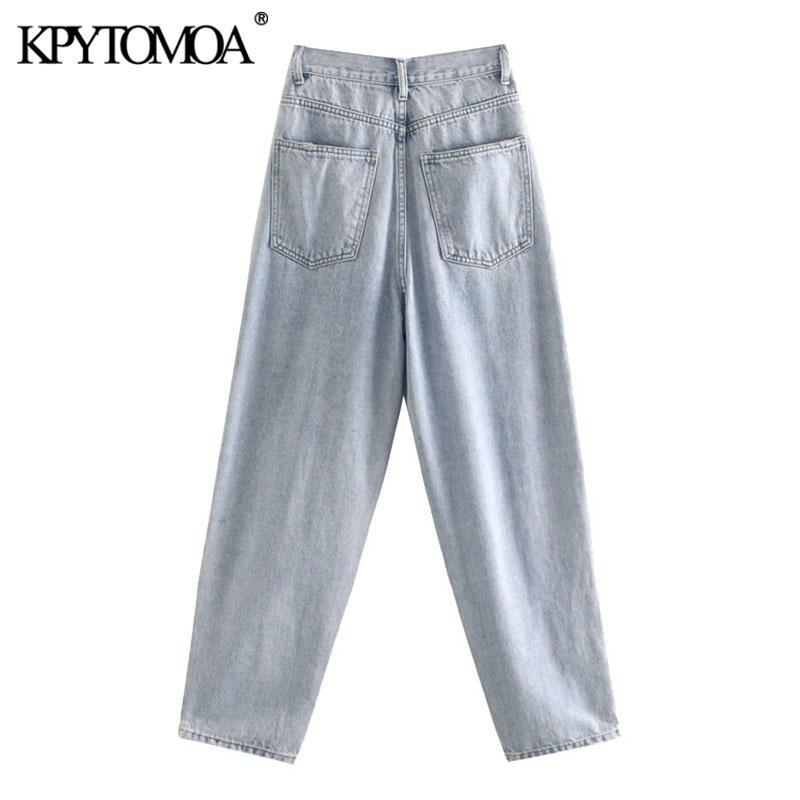 KPytomoa mulheres 2021 moda chique desgastado bolsos de guarnição denim calças de dano vintage vintage cintura alta zíper mosca feminina jeans pantalones