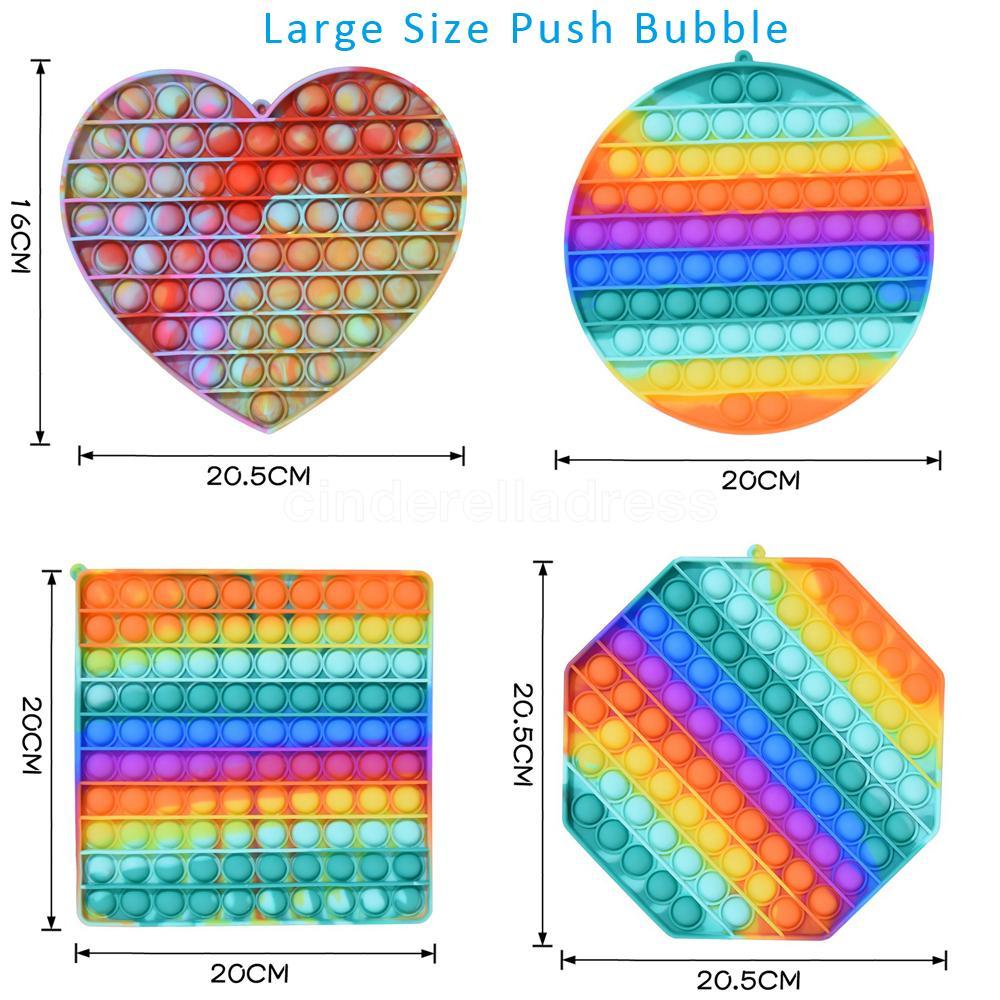 20 cm nuovo grande formato rainbow spingere it bolla antistress fidget giocattoli giocattoli per adulti bambini sensoriali per alleviare il regalo autistico cy05