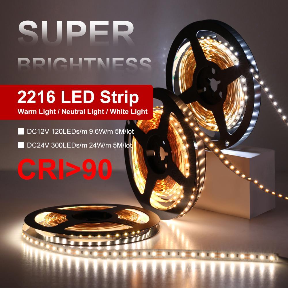 하이 엔드 LED 스트립 2216 12V 120LEDS / M 9.6W / M 24V 300LEDS / M 24W / M 3000K 4000K 6000K 고휘도 LED 스트립 5m / lot