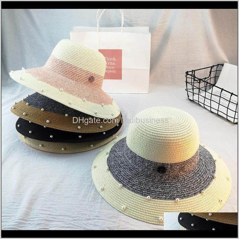 Sombreros de ala ancha gorras gorras, bufandas guantes de moda AessorePearl Seda para mujeres Verano Pearl Británica Blimed Brimmed St Hat Shoing Sun