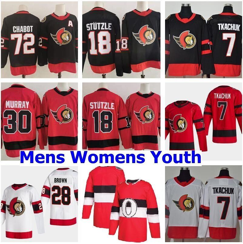 Retro Retro Ottawa Senadores 7 Brady Tkachuk Jersey 18 Tim Stutzle Stuetzle Thomas Chabot Matt Murray Connor Brown Alex Galchenyuk Hockey