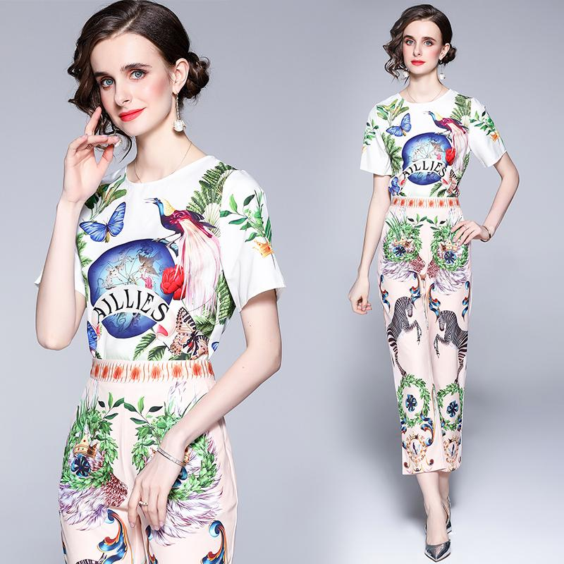 Dropshipping Wholesale Summer Fall Two Pieces 2pcs Womens Ladies Casual Sets Vintage Floral Print Crew Neck Short Sleeve Top Shirt Blouse Pant Suit Outfits