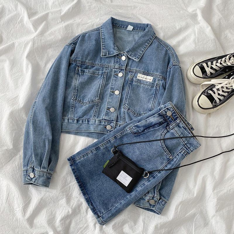 Women's Jackets Fashion Blue Denim Suit Spring 2021 Korean Wear Versatile Long Sleeve Short Top + High Waist A-line Skirt 0VZ0