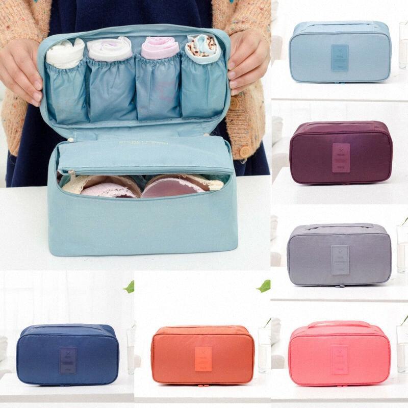 Economize espaço Sutiã Underwear Meias Cosméticos Embalagem Cubo Protable Saco de Armazenamento Bagagem Organizador M26W #