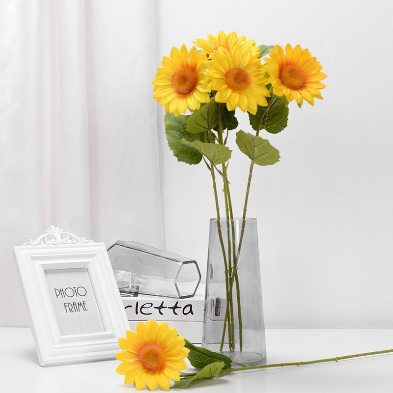 Decorative Flowers & Wreaths 1/5/10Pcs Sunflower Single Head Artificial Silk For DIY Scrapbooking Wreath Craft Home Wedding Decoration Fake