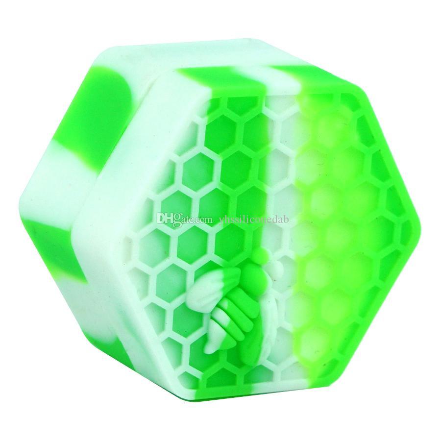 26 ml Hexagon Yapışmaz Kavanoz Şişe Yağ Kapları Silikon Konteyner Balmumu DAB Kavanozları Depolama Organizatörü Isıya Dayanıklı
