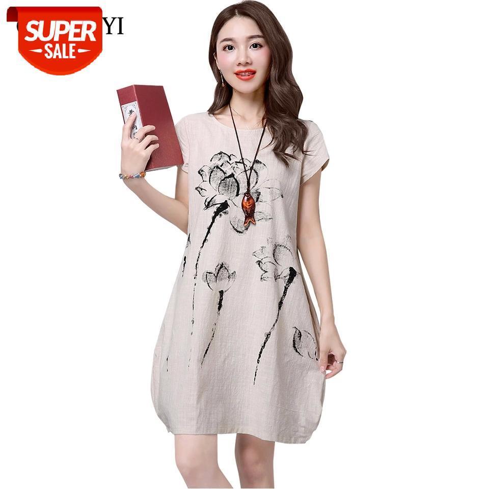 Guyunyi vestido de verano más tamaño manga corta multicolor mujeres vestido casual algodón lino loto impresión vestigos de festa # 6d9s
