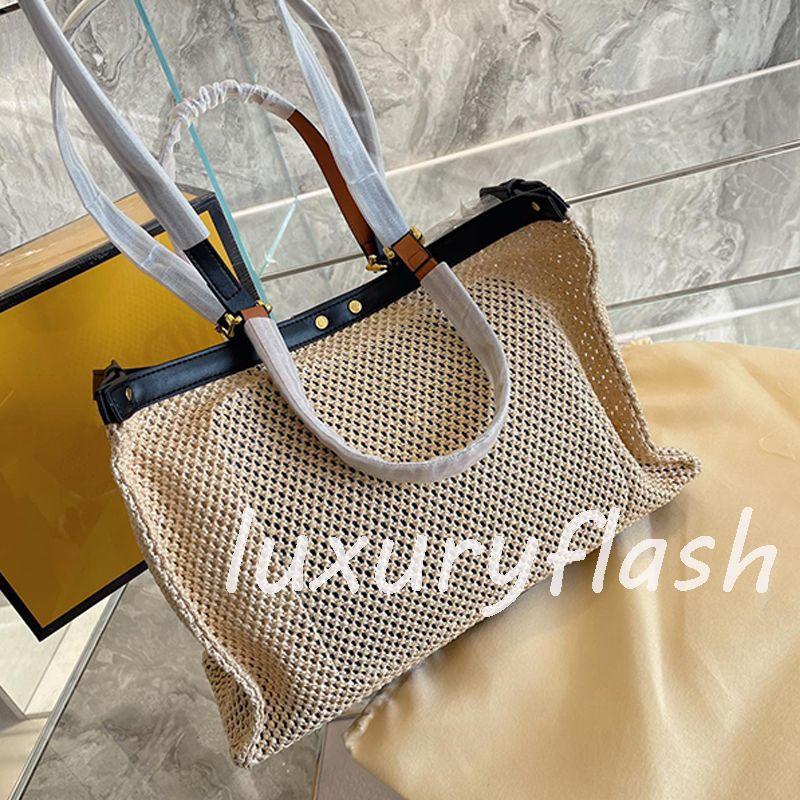 Mise à jour de grande capacité 2021 luxurys stylos designeurs sacs sac à main épaule Haute Qualité Summer Beach fourre-tout Sacs tissés sacs à main couleur unie couleur