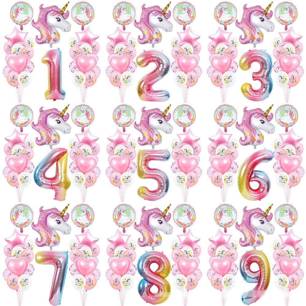 무지개 유니콘 생일 파티 풍선 1-9 세 소년 소녀 가족 배경 벽 장식 번호 설정 다른 숫자를 사용자 정의 할 수 있습니다