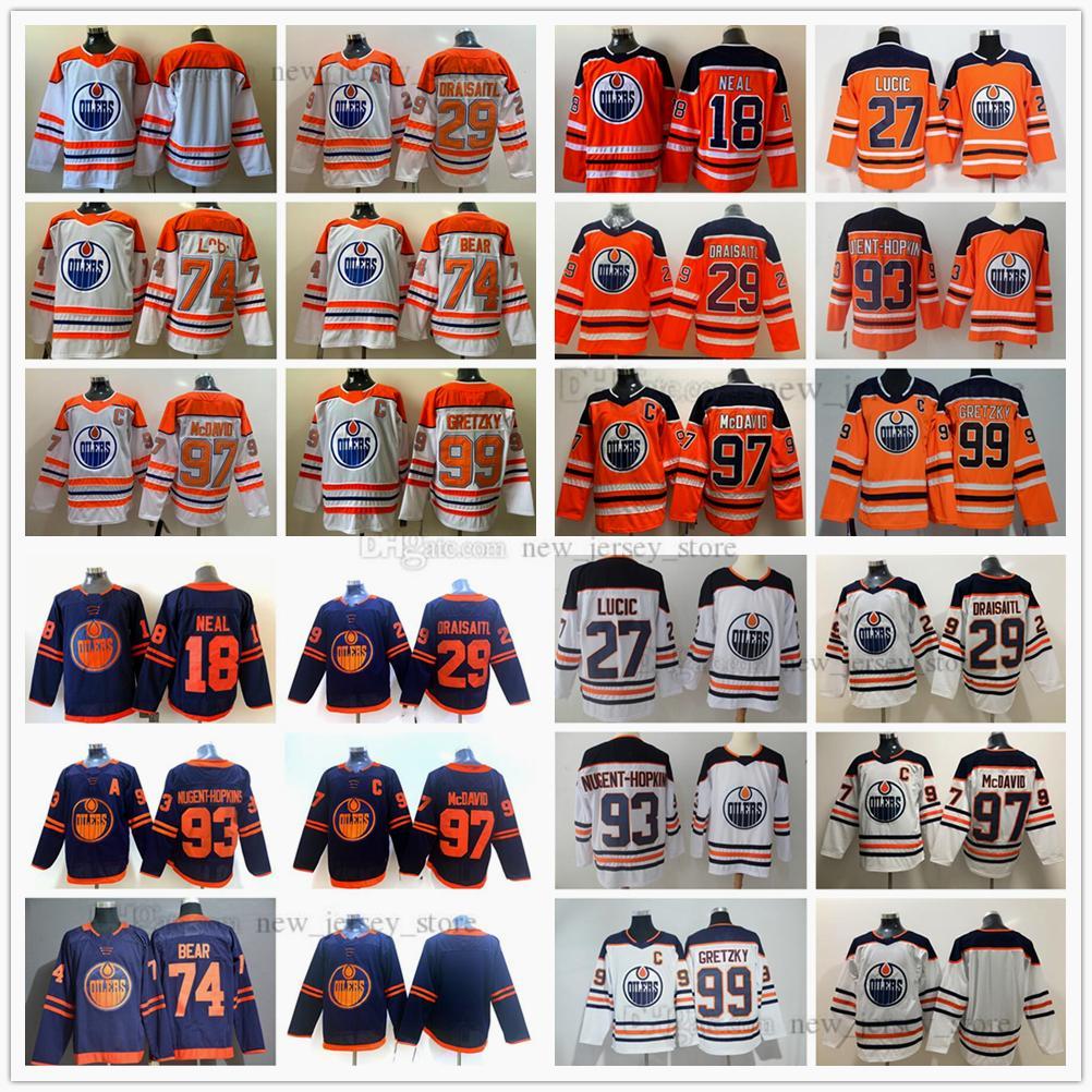 2021 Retro Eishockey Gretzky 97 Connor McDavid Jersey 74 Ethan Bär 29 Leon Draisait 93 Ryan Nugent-Hopkins 27 Milan Lucic 18 Neal Orange Trikots