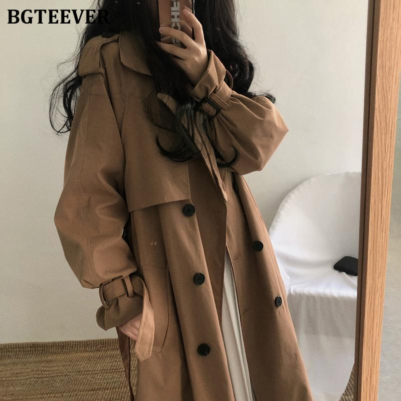Vintage Brown Oversized Women Windbreaker Coats Autumn Lapel Double Breasted Sashes Loose Ladies Trench Women's