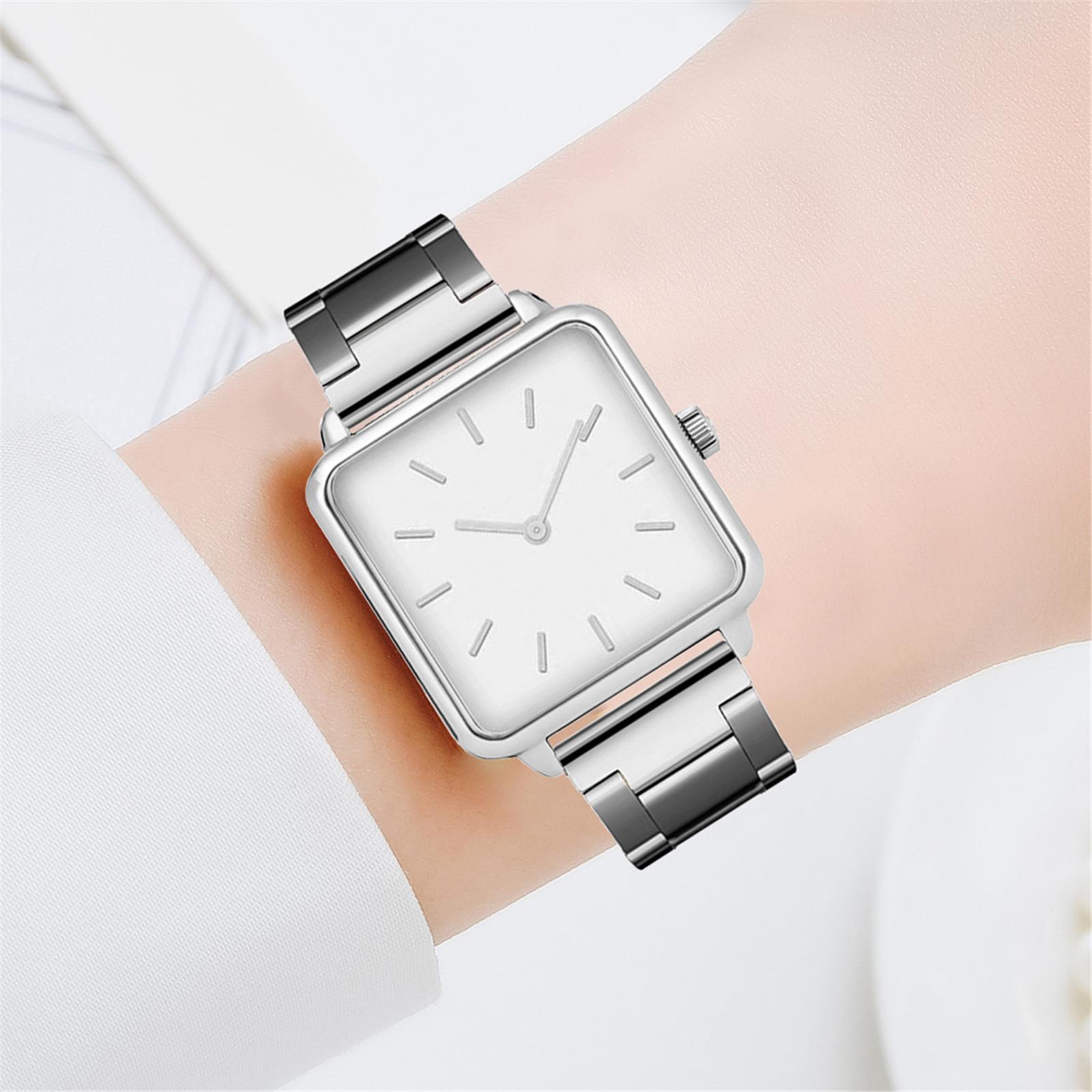 S Relojes de cuarzo para las mujeres Relojes de correa de cuero Cuadrado Cinturón femenino de acero inoxidable.