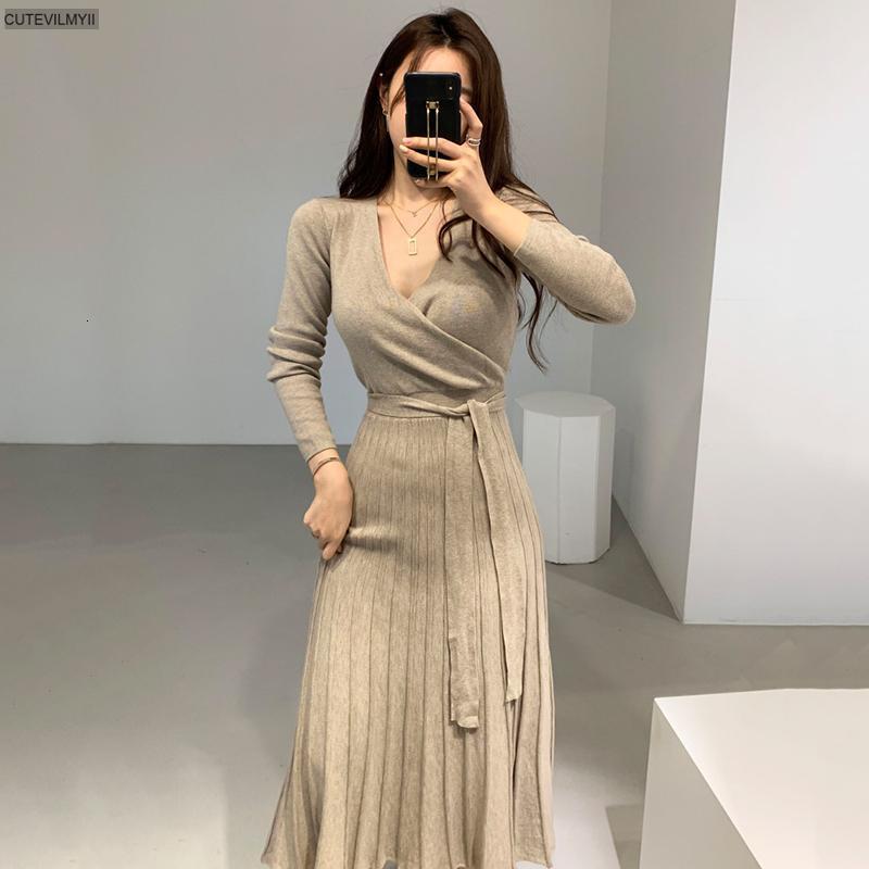 2021 платья набор женщин использовали bodycon potlead herf зима сплошные vestidos long mouwen v-образным вырезом тонкий леди шикарный корейский