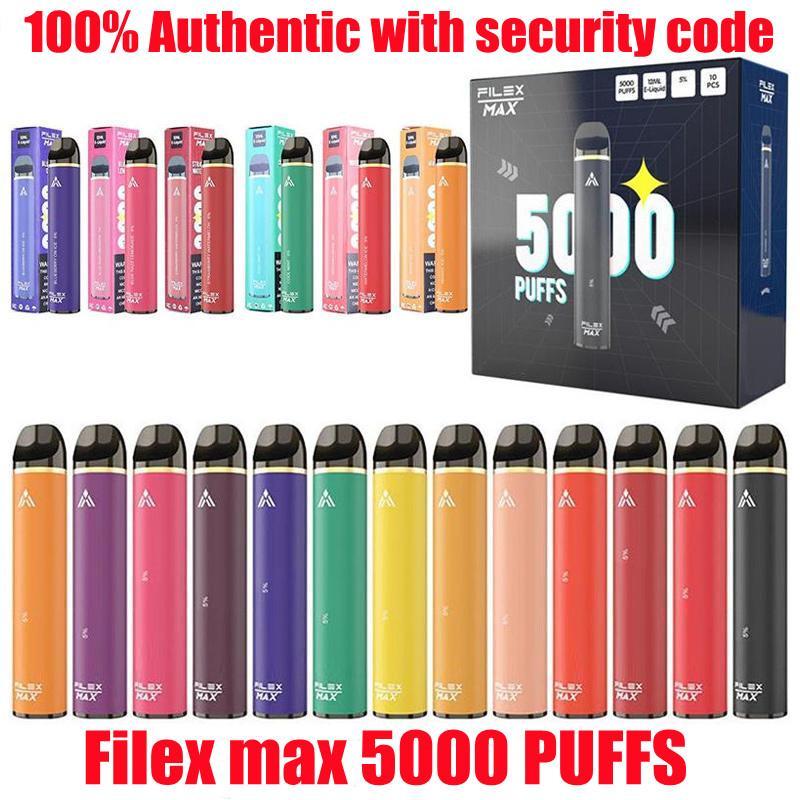100% auténticos cigarrillos recargables dispositivo vape desechable 950mAh batería 12ml Precio con código de seguridad Vapes Pen 5000 Puffs Archivo de alta capacidad MAX