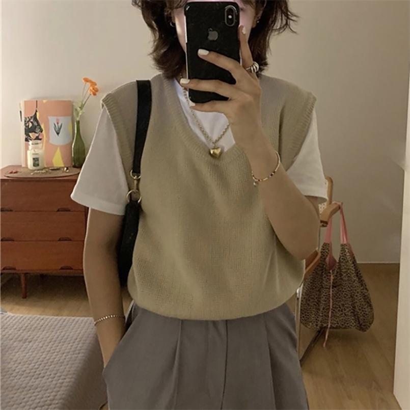 조끼 여성 기질 U 칼라 뜨개질 머리 MA3 JIA3 스웨터 조끼 한국 이외의 이른 가을 짧은 패션 210423