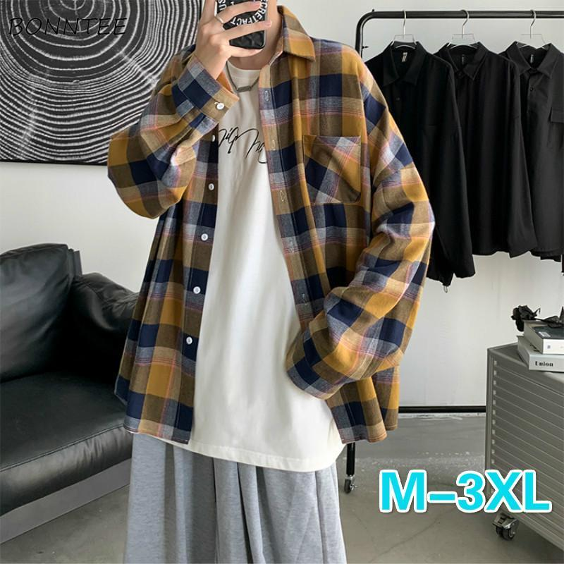 남성 셔츠 플러스 사이즈 3XL 격자 무늬 간단한 느슨한 남자 의류 남성 모든 특대 한국 스타일 레저 일일 Ulzzang Streetwear 남자 캐주얼