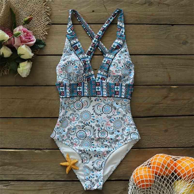 Um pedaço de maiô novo mulheres maiô halter push up swimwear vintage retro maço de banho de praia nadar 210323