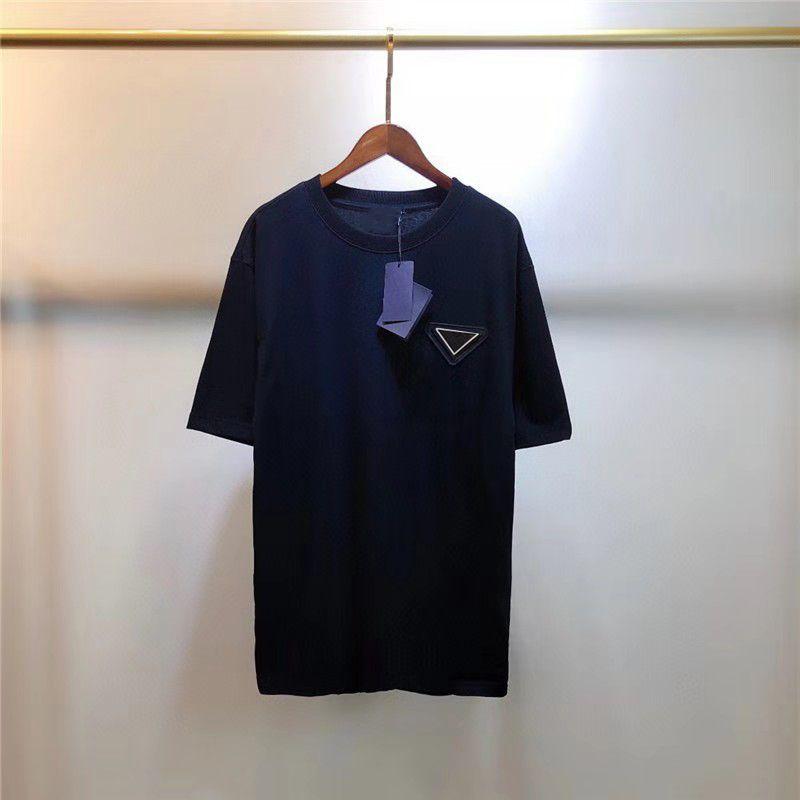 Mens Donne T-shirt con lettera budge estate traspirante tees outwear tops unisex colori solido magliette classiche maniche corte S-2XL