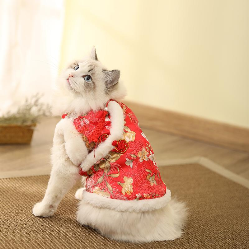 Fashion Dog Lion Dance Costumes Year Cats Christmas Outfit Products For Pets Ropa Para Gato Navidad Pet Clothes OO50JS Cat