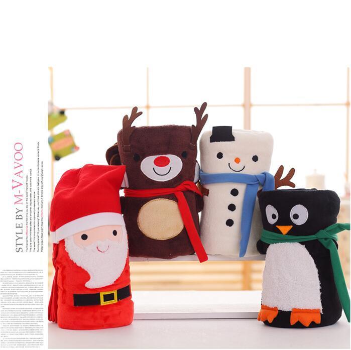 Carpets Cartoon Christmas Flannel Blanket Foldable Santa Claus Snowman Penguin Deer Pattern Carpet Washable Keep Warm Soft Throw Blankets ZWL411