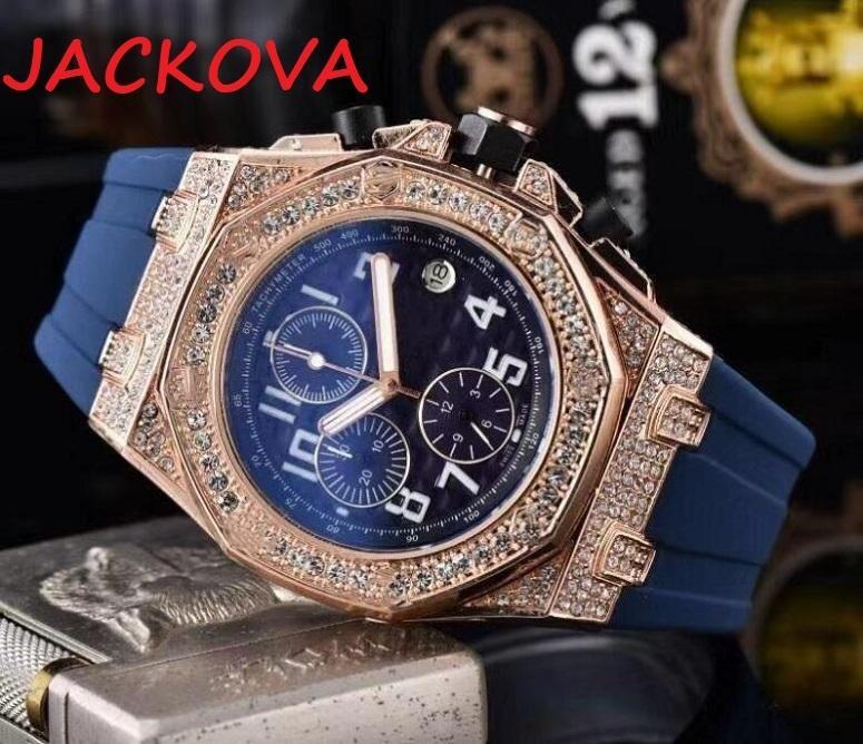 고품질 망 거주자 시계 클래식 디자인 다이아몬드 아이스 시계 쿼츠 운동 남자 스포츠 손목 시계 Shinning 스톱워치 타이머