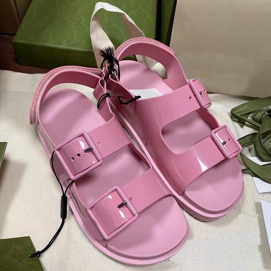 2021 Top Designer Luxury Women Straps Sandals Fashion Summer Ladies Flats Playa Zapatillas Playa MUJER MUJER DIFERENTE CASUAL CON CAJA grande 35-46