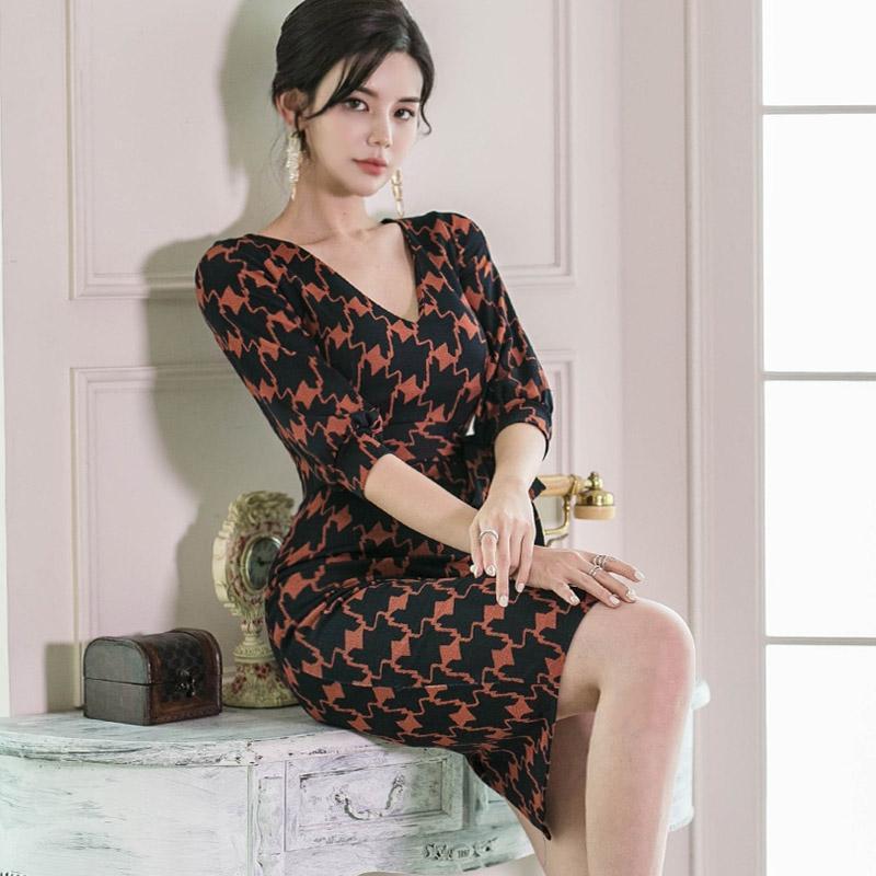 Nouveau Summerwomen Imprimer Sleeve Sleeve Bodycon Travaux décontractés Bureau de la robe élégante