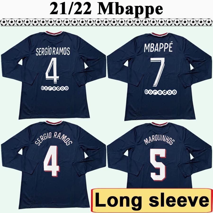 21 22 Messi Mbappe Manga Longa Mens Futebol Jerseys di Maria Kimpembe Sergio Ramos Home Bule Away Futebol Camisetas Draxler Verratti Uniformes