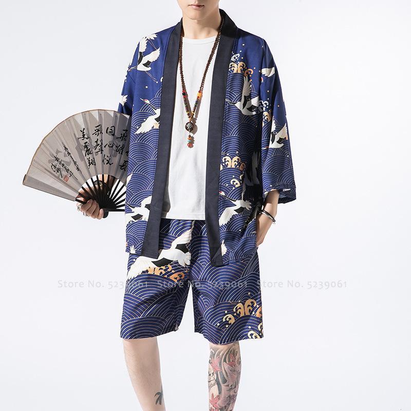 Moda Ukiyoe Imprimir Kimono Robas Shorts Chino Estilo Casual Tang Traje Cardigan Chaquetas Japonés Harajuku Retro Tops Abrigos Pantalones Etnic Clot