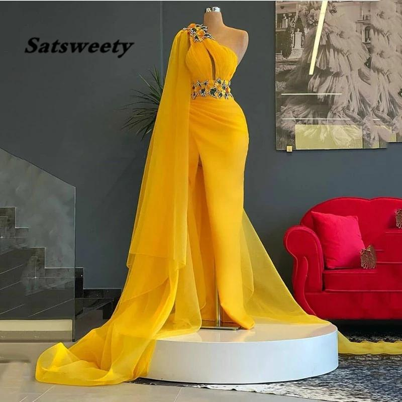 One Should Evening Dress Mermaid Long Sexy Side Split Prom Party Gowns With Belt 3D Flower Celebrity Dresses