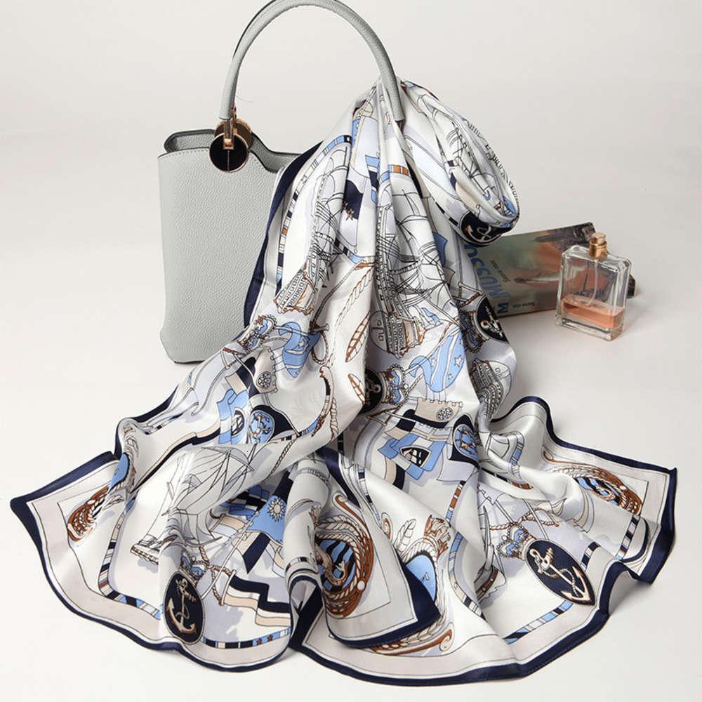 Sciarpe di seta pura versatili di alta qualità DesignerNew a prova di sole, scialli da donna, modelli personalizzati