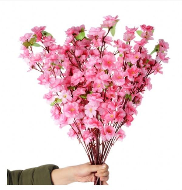 100pcs artificiels cerisier printemps prune pêche fleur de la corde de fleur de soie pour la décoration de fête de mariage blanc rouge jaune couleur rose