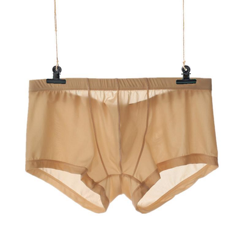 Mutande Ice in seta trasparente biancheria intima trasparente a vita bassa sottile estate sexy boxer pantaloni traspiranti pantaloncini giovanili moda maschile