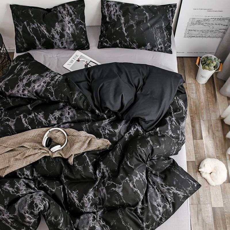 Mármore conjunto de cama macio Capa de cama de pele de pele de cama dupla colcha de cama dupla e fronha para casa produto doméstico 210319